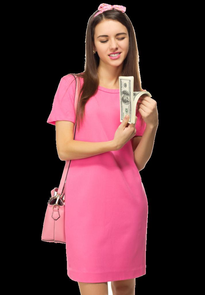 mujer en vestido rosa con dinero